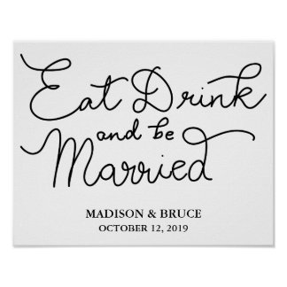 Eat Drink And Be Married Wedding Calligraphy Poster