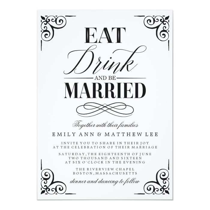 Eat Drink and Be Married | Wedding Card | Zazzle