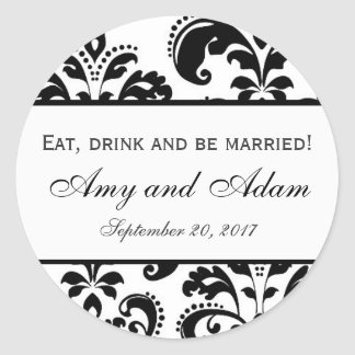 Eat, Drink, and be Married Wedding Classic Round Sticker