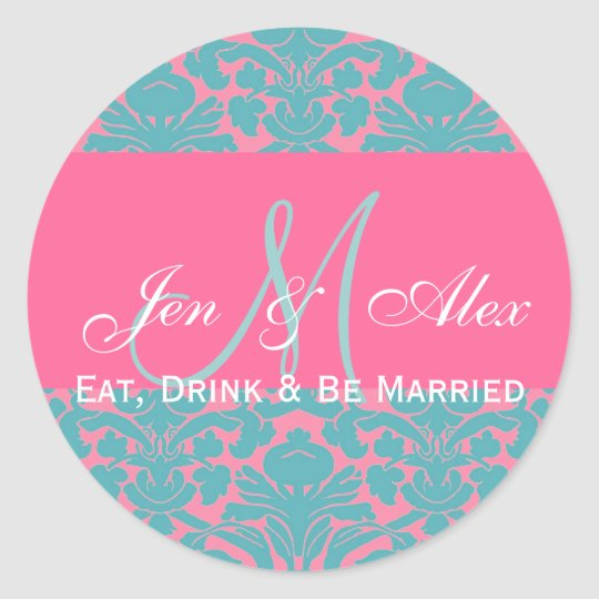 Eat, Drink and be Married Wedding Favor Seal