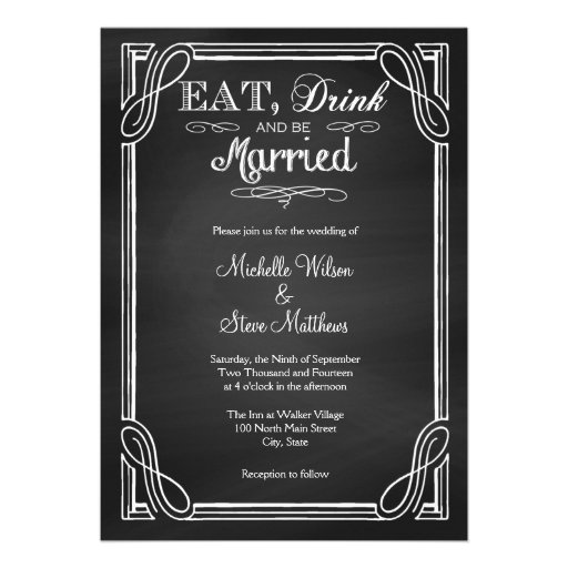 Eat Drink And Be Married Wedding Invitations was very inspiring ideas you may choose for invitation ideas