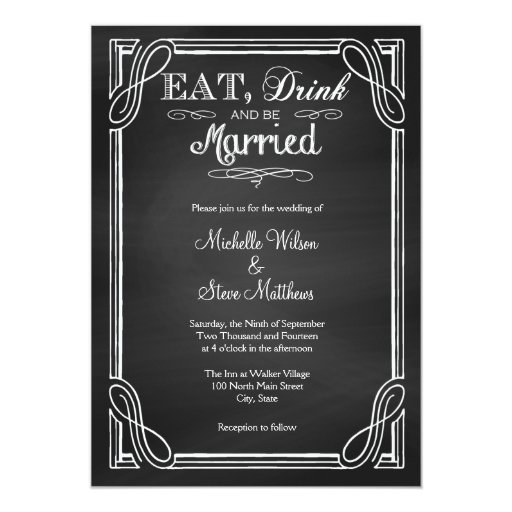 Eat Drink and be Married Wedding Invitations | Zazzle
