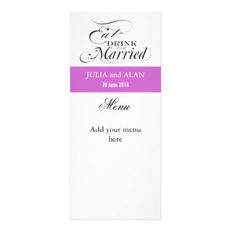 Eat, Drink, and Be Married Wedding Menu Card Lilac Personalized Announcement