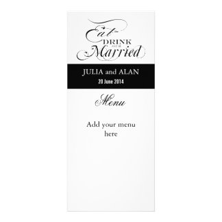 Eat Drink and Be Married Wedding Menu Cards Custom Announcement