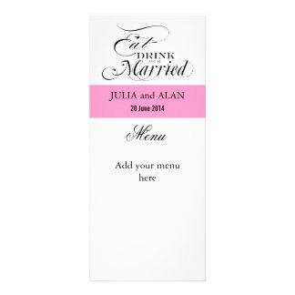 Eat Drink and Be Married Wedding Menu Cards Pink Personalized Invite