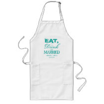 Eat drink and be married wedding party BBQ apron