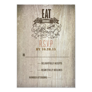 Eat drink and be married wedding RSVP cards