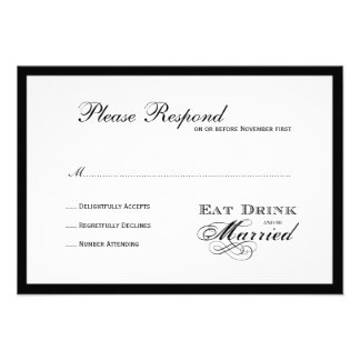 Eat Drink and be Married Wedding rsvp Custom Invites
