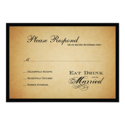 Eat Drink and be Married  Wedding rsvp Invitations