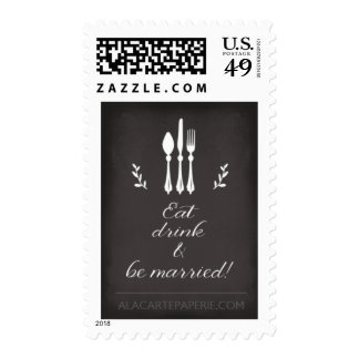 Eat Drink and be married Wedding stamp Silverware