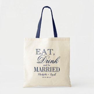 Eat drink and be married wedding tote bags | Navy