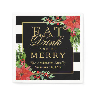 Eat Drink and Be Merry Christmas Botanical Floral Paper Napkin