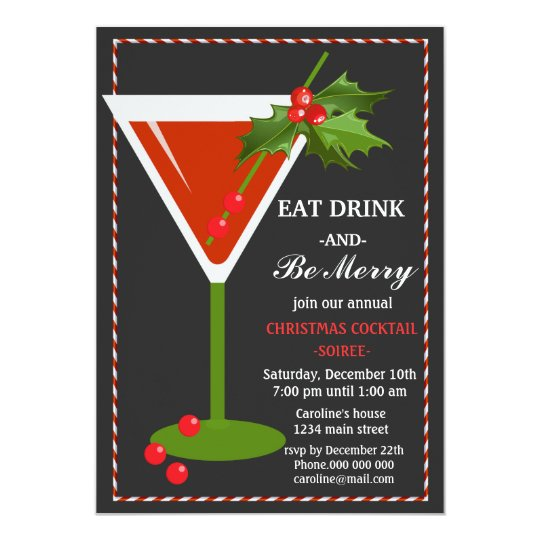 eat drink and be merry christmas cocktail party invitation