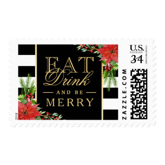 Eat Drink and Be Merry Christmas Gold Lettering Postage