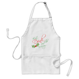 Eat Drink and be Merry Christmas Holly Berry Adult Apron