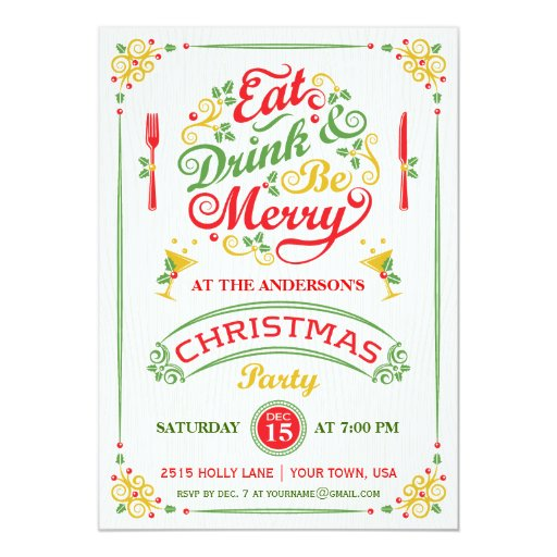 eat  drink  and be merry christmas party iii 5x7 paper
