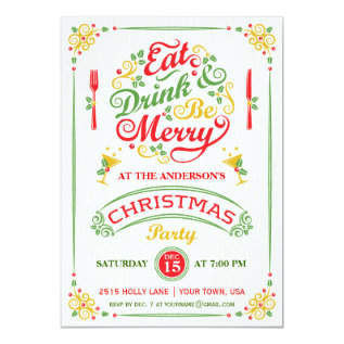Eat, Drink, And Be Merry Christmas Party Iii Card at Zazzle