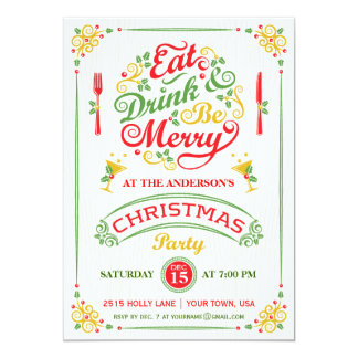 Eat, Drink, and Be Merry Christmas Party III Custom Invite
