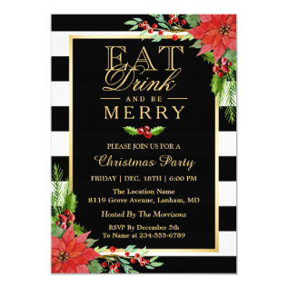 Eat Drink and Be Merry Christmas Party Invitation at Zazzle