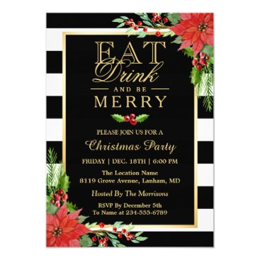 Christmas Themed Eat Drink and Be Merry Christmas Party Invitation