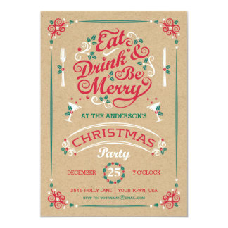 Eat Drink and Be Merry Christmas Party, Kraft Card