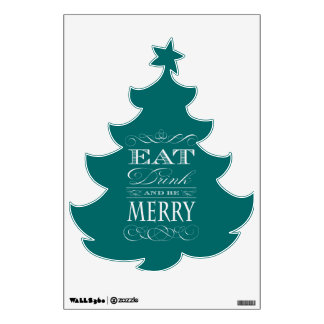 Eat Drink and Be Merry Christmas Tree Wall Sticker