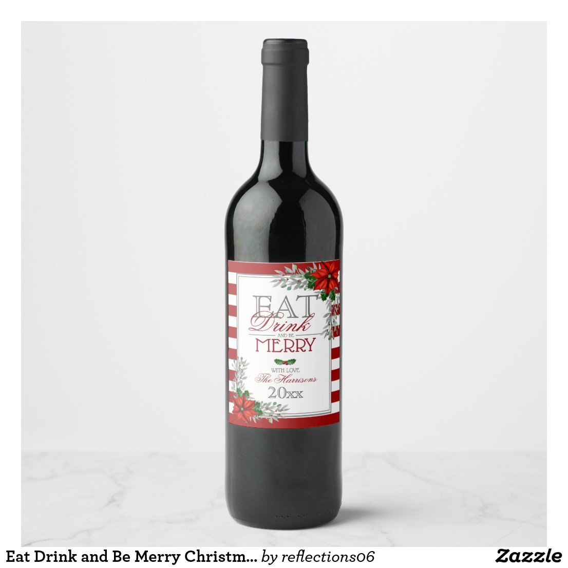 Eat Drink and Be Merry Christmas Wine Label