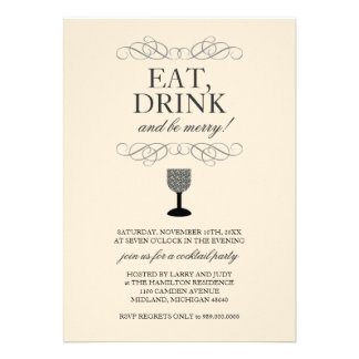 Eat, Drink and Be Merry Cocktail Party Invitation