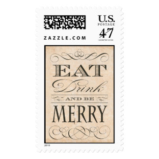 Eat Drink and Be Merry Gourmet Holiday Postage
