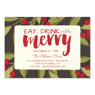 Eat, Drink and be Merry Holiday Christmas Party Card