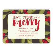 Eat, Drink and be Merry Holiday Christmas Party Invitation