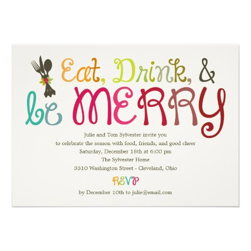 Eat Drink And Be Merry Holiday Party Invitation Announcement