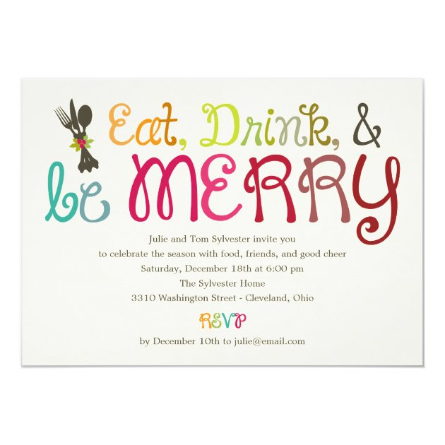 Eat Drink and Be Merry Holiday Party Invitation (front side)
