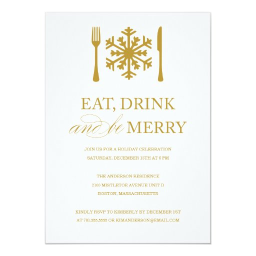 Eat Drink And Be Merry Christmas Invitations