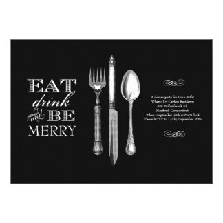 Eat, Drink and Be Merry   Invitation on Black