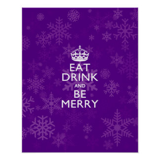 Eat Drink And Be Merry on Purple Keep Calm Decor Poster