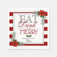 Eat Drink and Be Merry Poinsettia Christmas Napkin