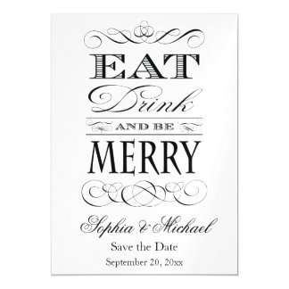 Eat Drink and Be Merry Save the Date Wedding Magnetic Card