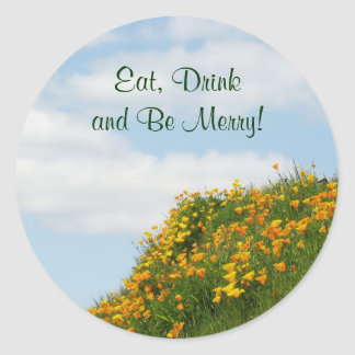 Eat Drink and Be Merry! stickers seals Poppies