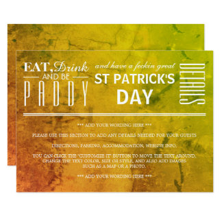 Eat, Drink and be Paddy St Patrick's Day Detail Card