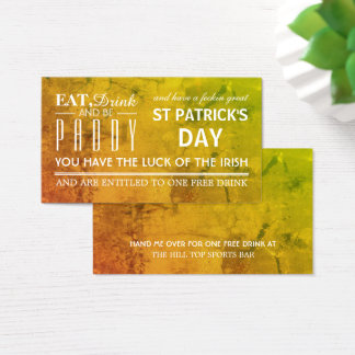 Eat, Drink and be Paddy St Patrick's Drink Ticket