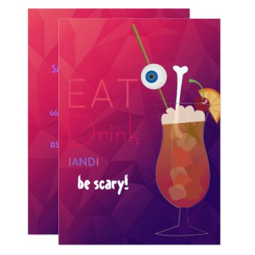 Halloween Themed Eat, Drink and be Scary Adult Halloween Party Card