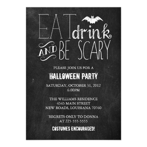 Eat Drink and Be Scary | Chalkboard Personalized Invites