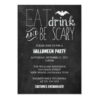 Eat Drink and Be Scary | Chalkboard 5x7 Paper Invitation Card