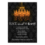 Eat Drink and Be Scary Elegant Damask Chandelier Custom Invitations