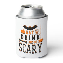 eat drink and be scary halloween can cooler