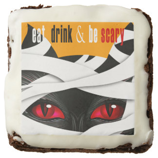Eat Drink and Be Scary - Halloween Mummy Cat Chocolate Brownie
