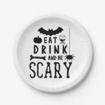eat drink and be scary halloween paper plate
