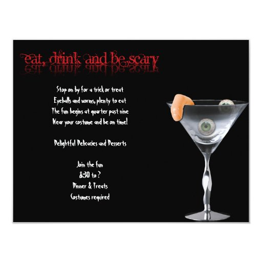 """Eat Drink and be Scary Halloween Party Invitation 4.25"""" X 5.5"""" Invitation Card"""