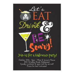 Eat, Drink and Be Scary Halloween Party Invitation